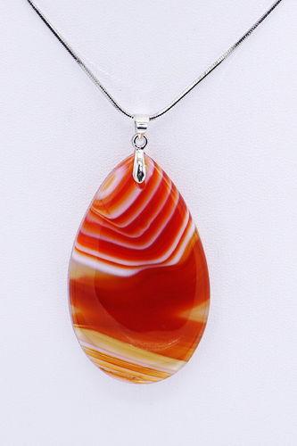 Silberkette mit orange-rotem Botswana-Achat-Tropfen